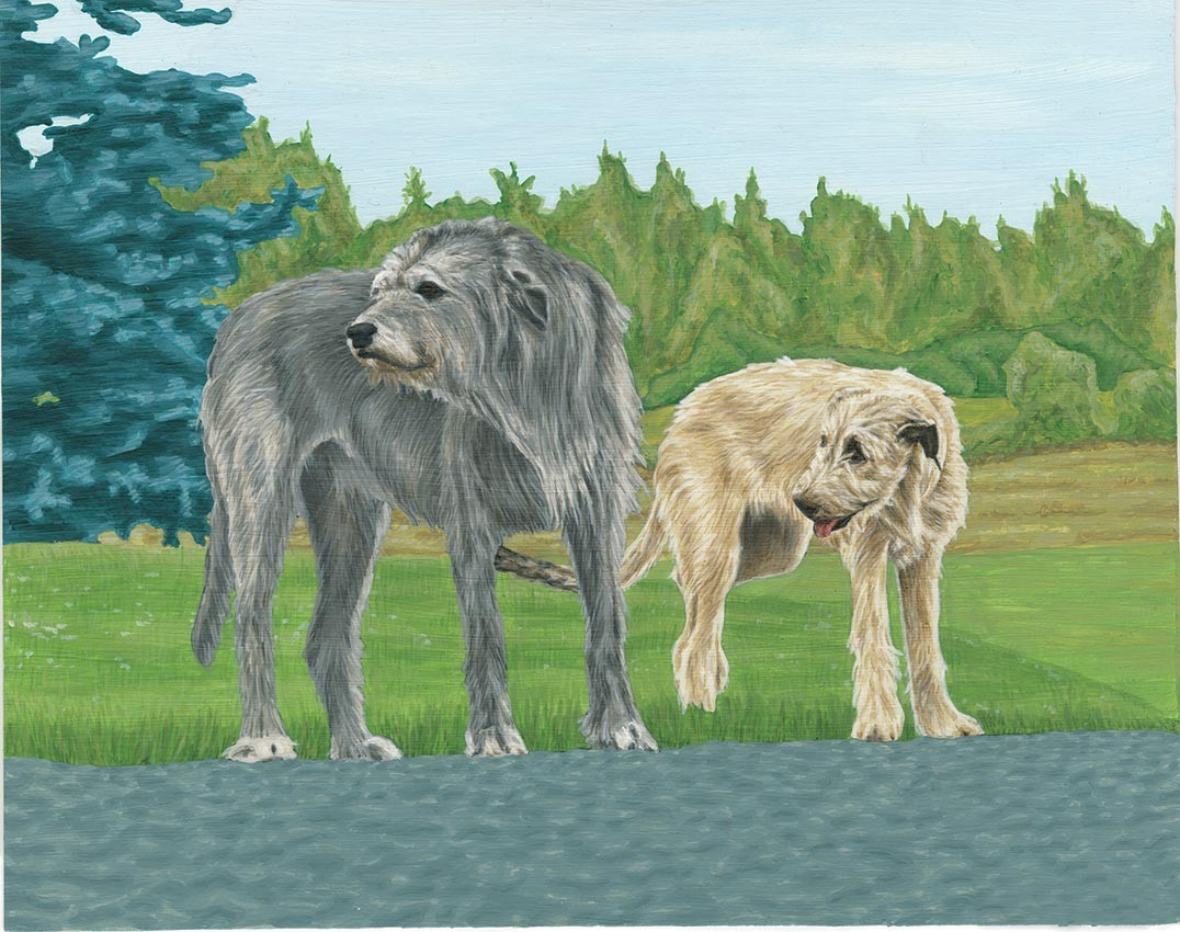 Two dogs painting