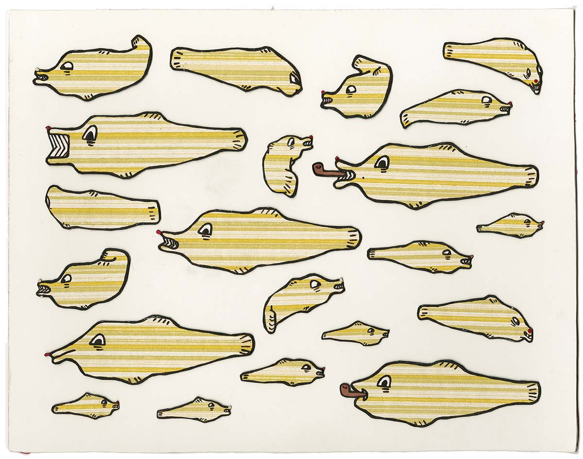 Paper fish puppets for animation by Amy Lockhart