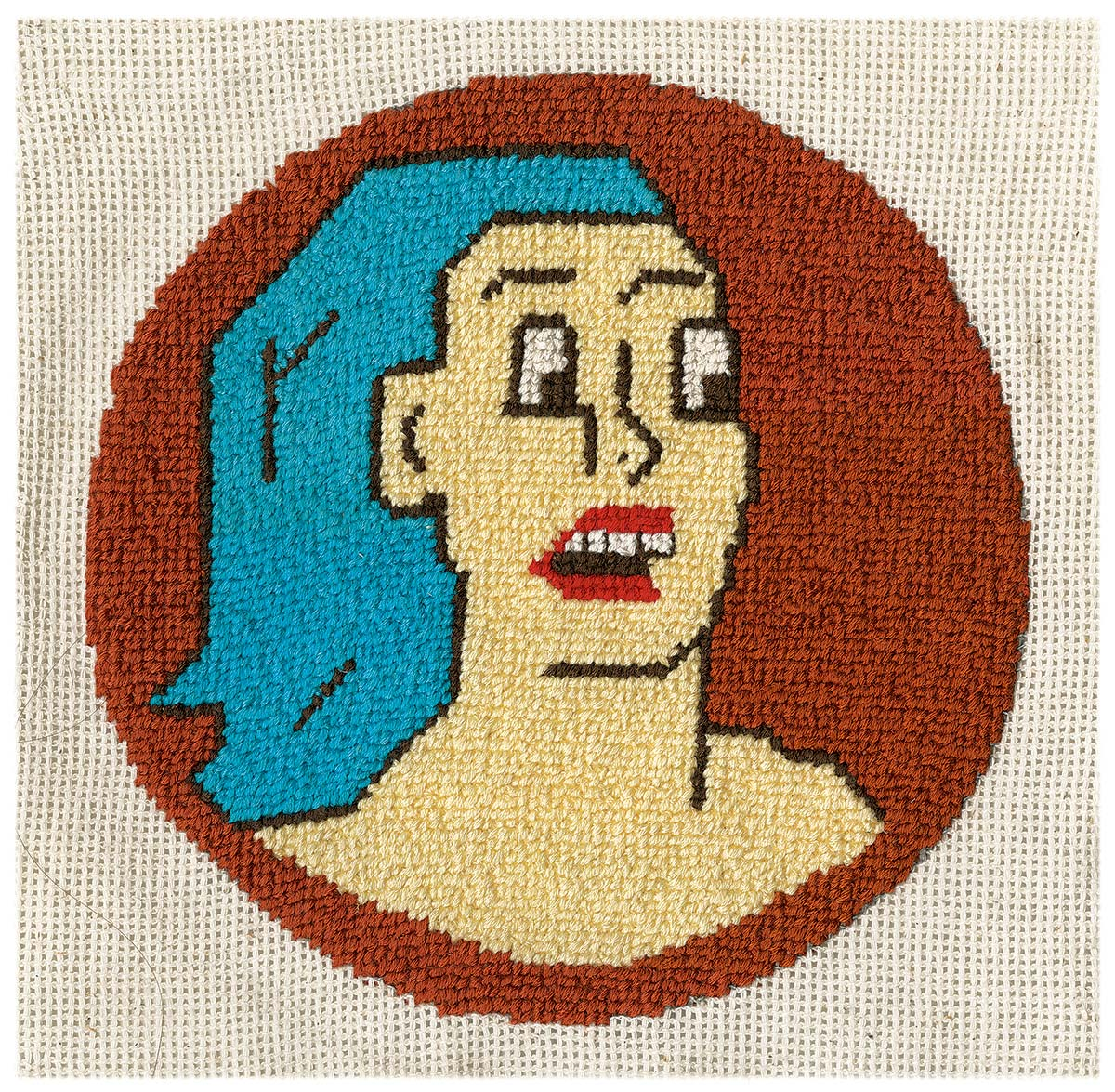 Walk for Walk cross stich embroidery of a woman with blue hair